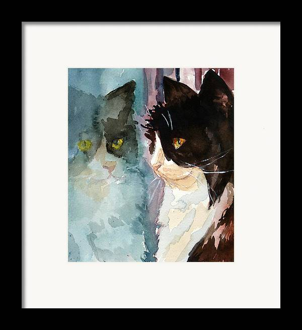 Cat Framed Print featuring the painting Who Are You by P Maure Bausch