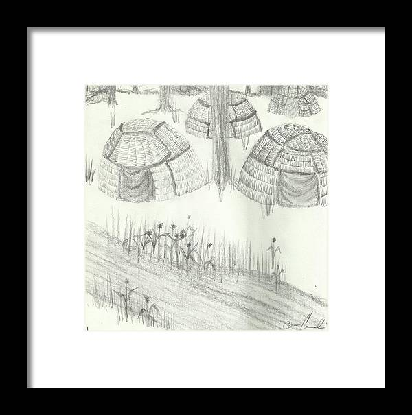 Drawing Framed Print featuring the drawing Wigwamek by Candi Wesaw