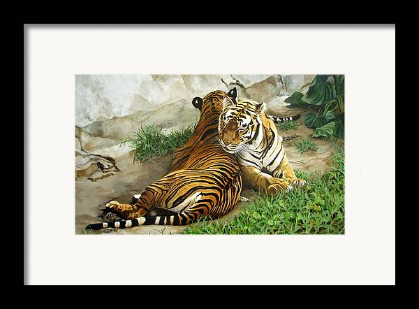 Tiger Framed Print featuring the painting Wild Content by Sandra Chase