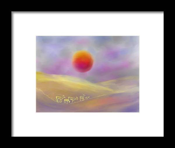 Nature Framed Print featuring the digital art Wildfire Sunrise by Dawn Senior-Trask