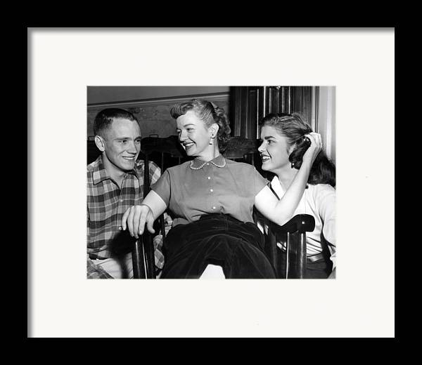 1950s Candids Framed Print featuring the photograph William Rose Left, Fiance Of Cheryl by Everett