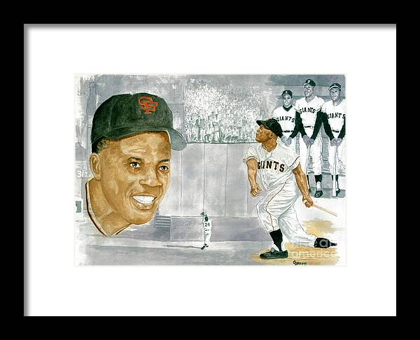 Willie Mays Framed Print featuring the painting Willie Mays - The Greatest by George Brooks