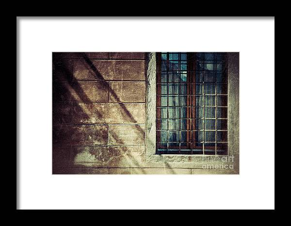 Architecture Framed Print featuring the photograph Window And Long Shadows by Silvia Ganora