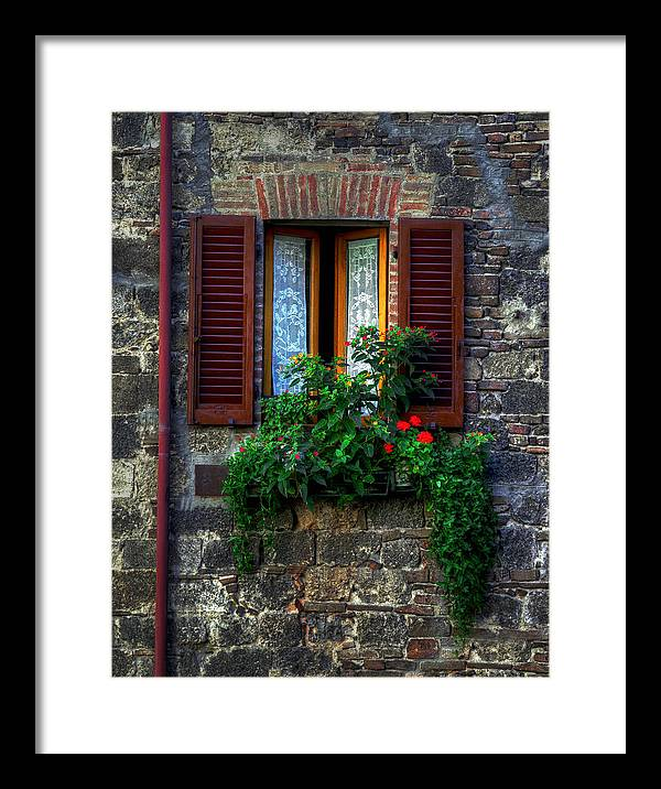 Flowers Shutters Window Stone Wall Italy Assisi Framed Print featuring the photograph Window Assisi by David Blankenship