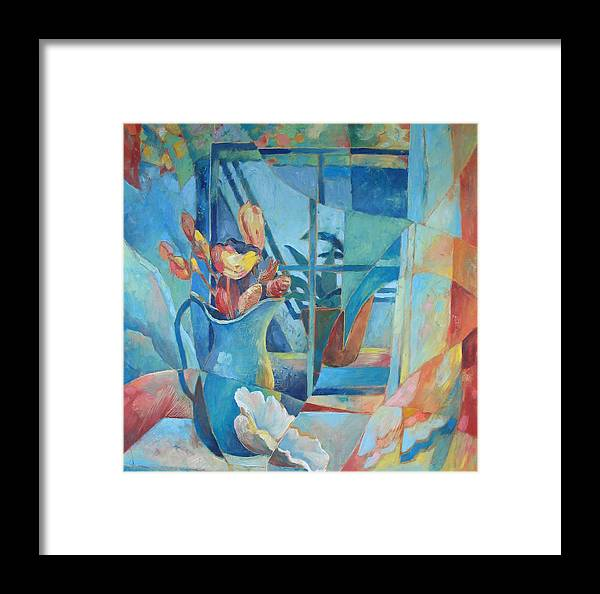 Still Life Framed Print featuring the painting Window In Blue by Susanne Clark
