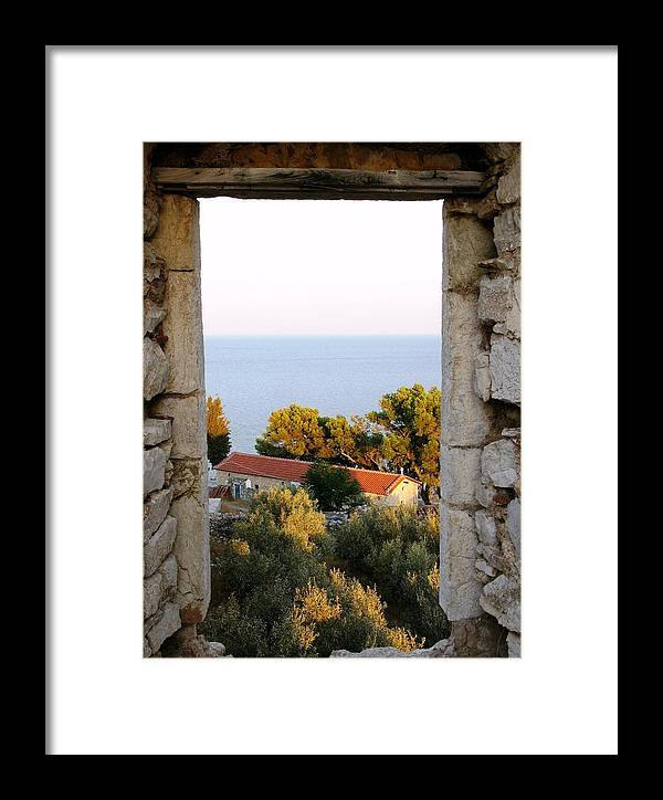 Venetian Castle Framed Print featuring the photograph Window Of Sea by Andonis Katanos