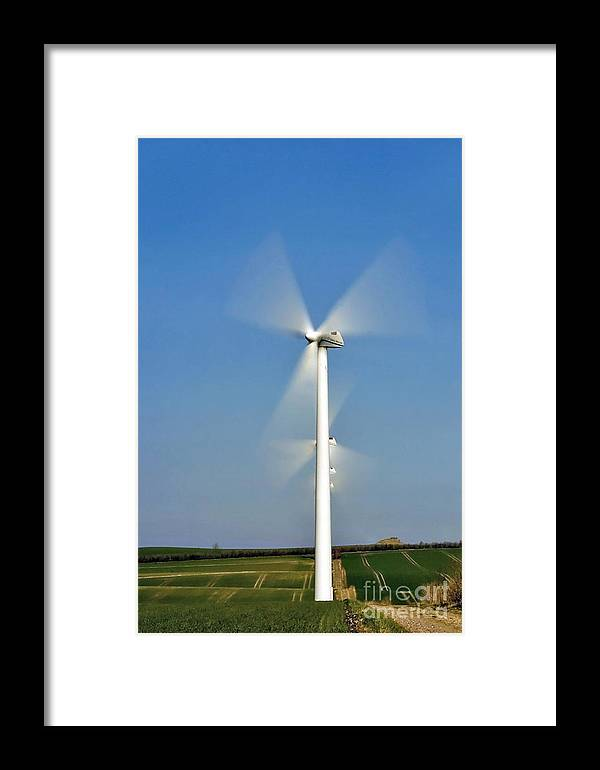 Energi Framed Print featuring the photograph Windturbine by Jorgen Norgaard