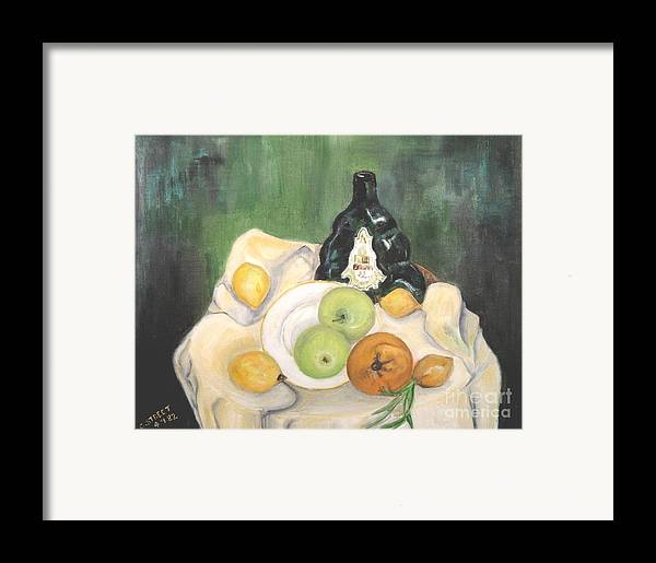 Still Life Framed Print featuring the painting Wine And Fruit by Caroline Street