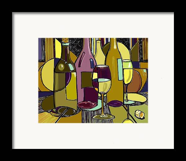 Wine Bottles Framed Print featuring the drawing Wine Bottle Deco by Peggy Wilson