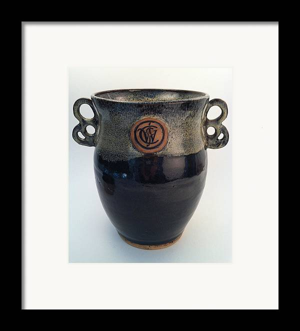 Art Framed Print featuring the ceramic art Wine Chiller Or Vase With Licorice And Light Beige Glaze by Carolyn Coffey Wallace