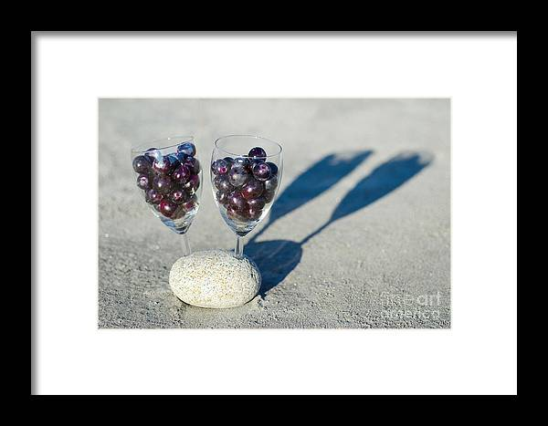 Grapes Framed Print featuring the photograph Wine Glass With Grapes by Mats Silvan