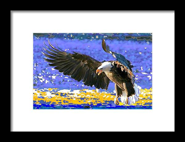 Bald Eagle Framed Print featuring the digital art Wings On High by Carrie OBrien Sibley