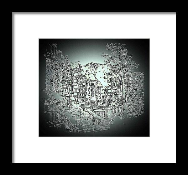 Skiing Mountain Resort Environment Framed Print featuring the drawing Winter by Andrew Drozdowicz