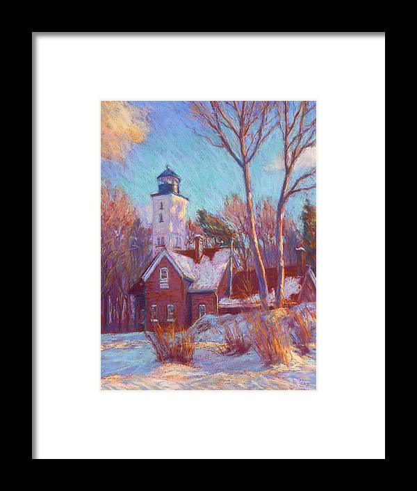 Impressionism Framed Print featuring the painting Winter at the lighthouse by Michael Camp