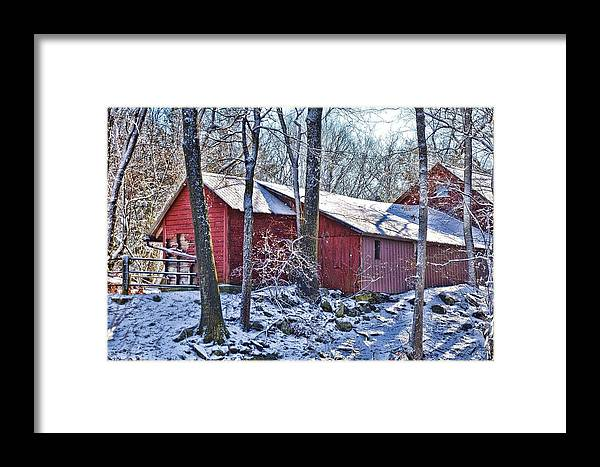 Landscape Framed Print featuring the photograph Winter Barn by Nancy Rohrig