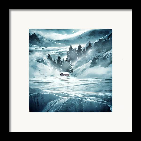 Barn Framed Print featuring the digital art Winter Seclusion by Lourry Legarde