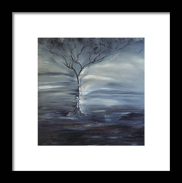 Tree Framed Print featuring the painting Winter Storm by Lesley Anne Cornish