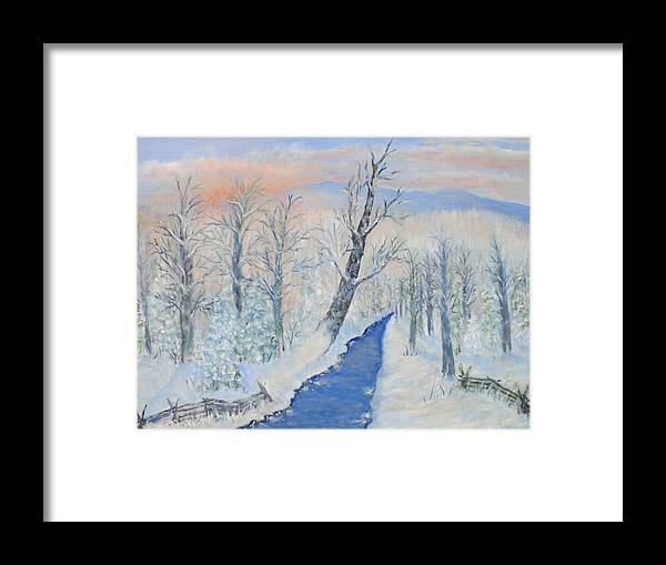 Winter Framed Print featuring the painting Winter Sunrise by Ben Kiger