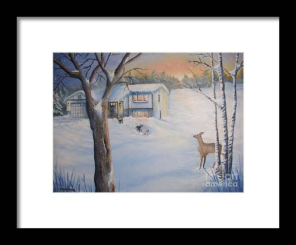 Framed Print featuring the painting Winter Visitor by Patricia Raymond