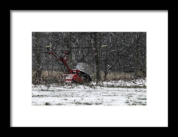 Garden Tiller Framed Print featuring the photograph Winterized by Wanda Brandon