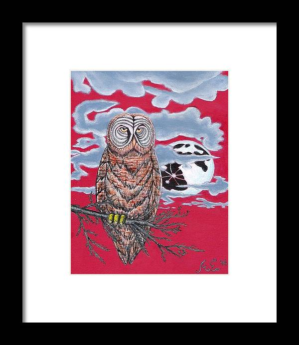 Owl Framed Print featuring the painting Wise Owl by Andy Estevez