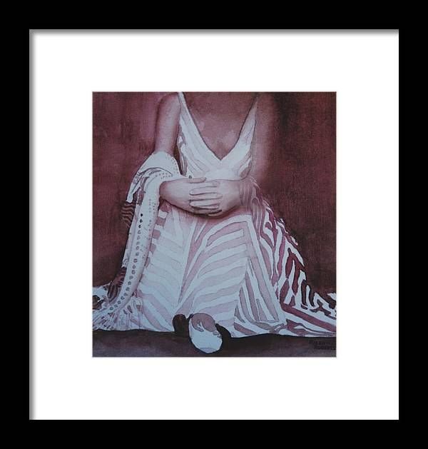 Watercolor Of Woman Wearing Stripes Framed Print featuring the painting Wish I Was A Zebra by Eve Riser Roberts