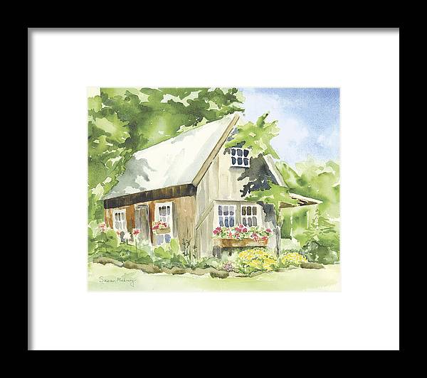House Framed Print featuring the painting Wisteria Farm by Susan Mahoney