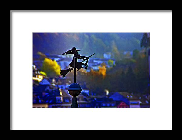 Weathervane Framed Print featuring the photograph Witch's Ride by Roberta Bragan
