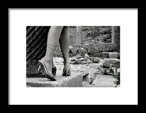 Legs Framed Print featuring the photograph Woman Among Remains Of An Ancient Temple by Oleksiy Maksymenko