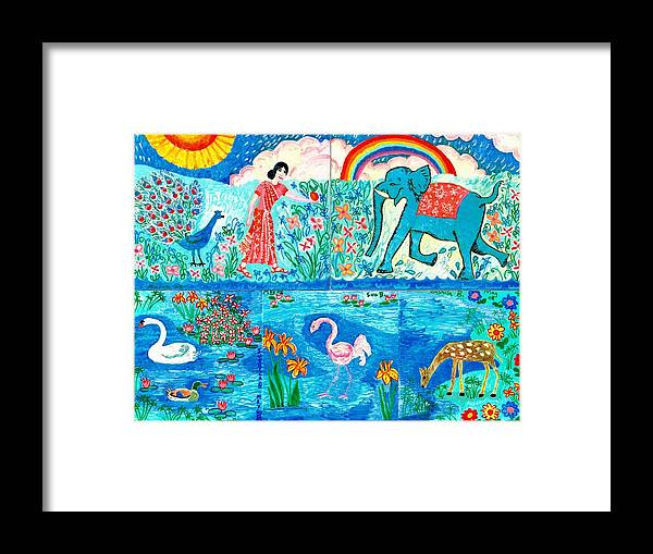Elephant Framed Print featuring the painting Woman and Blue Elephant beside the Lake by Sushila Burgess