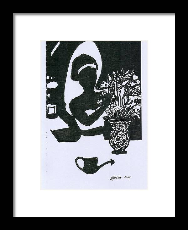 Woman Framed Print featuring the drawing Woman Arranging Flowers 1 by Rhetta Hughes