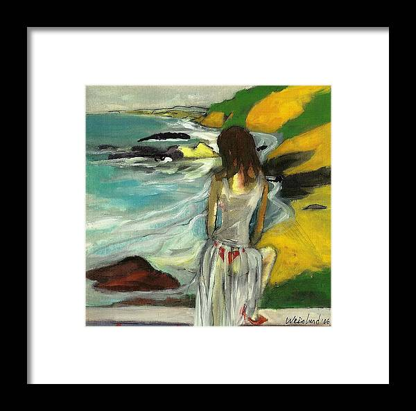 Sea Framed Print featuring the painting Woman In Sheer Dress By Sea 3d by Harry WEISBURD