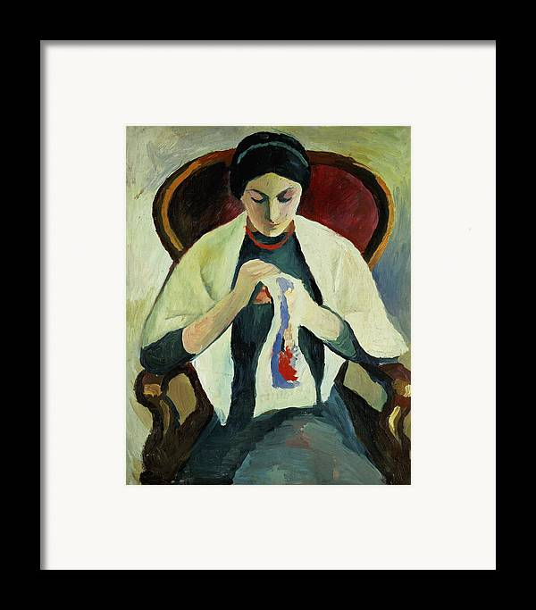 Woman Sewing By August Macke (1887-1914) Armchair; Portrait; Female Framed Print featuring the painting Woman Sewing by August Macke