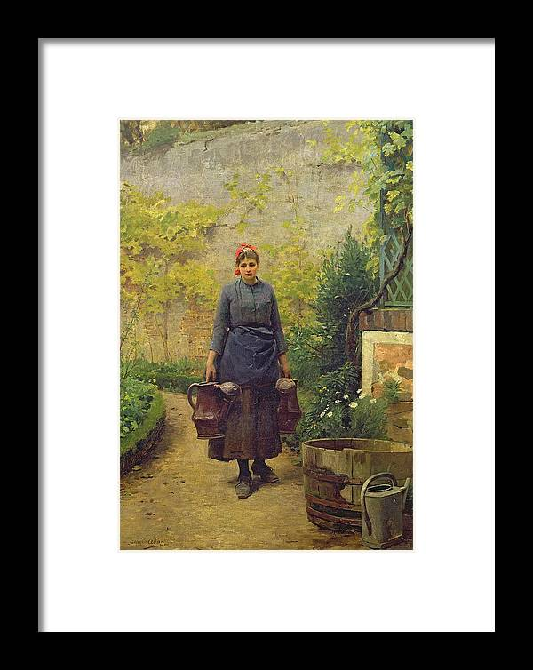 Woman With Watering Cans (oil On Canvas) Femme Aux Arrosoirs; Can; Gardening; Kitchen Garden; Gardener; Female; Barrel; Flowers; Walled Framed Print featuring the painting Woman With Watering Cans by L E Adan