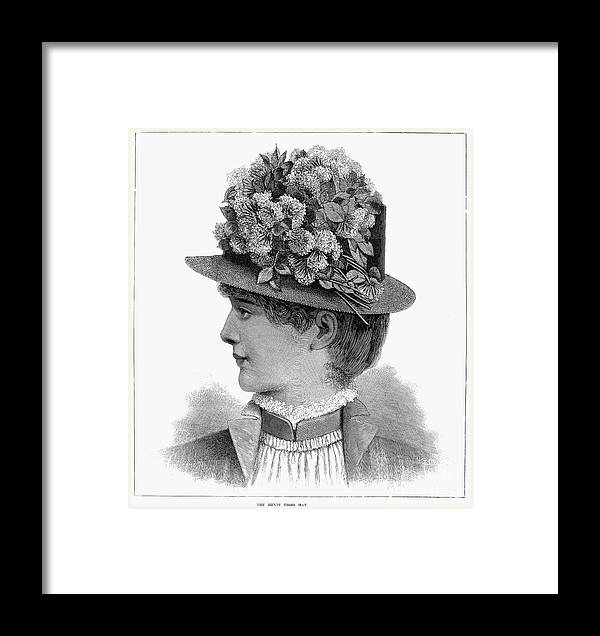 1883 Framed Print featuring the photograph Womans Hat, 1883 by Granger