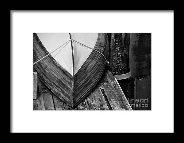 Wooden Boat Framed Print featuring the photograph Wooden Boat On The Dock by Wilma Birdwell