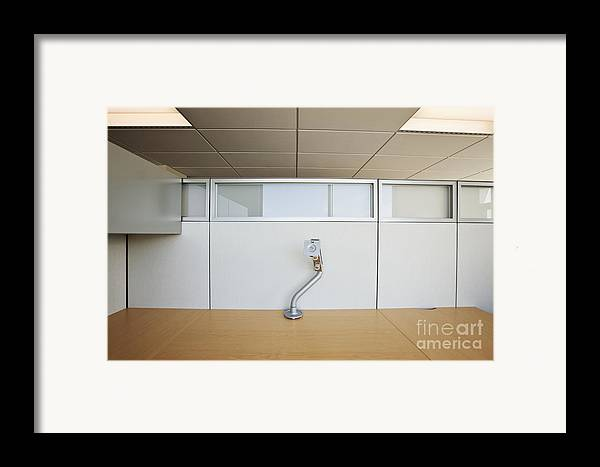 Architecture Framed Print featuring the photograph Wooden Desks Being Stored by Jetta Productions, Inc