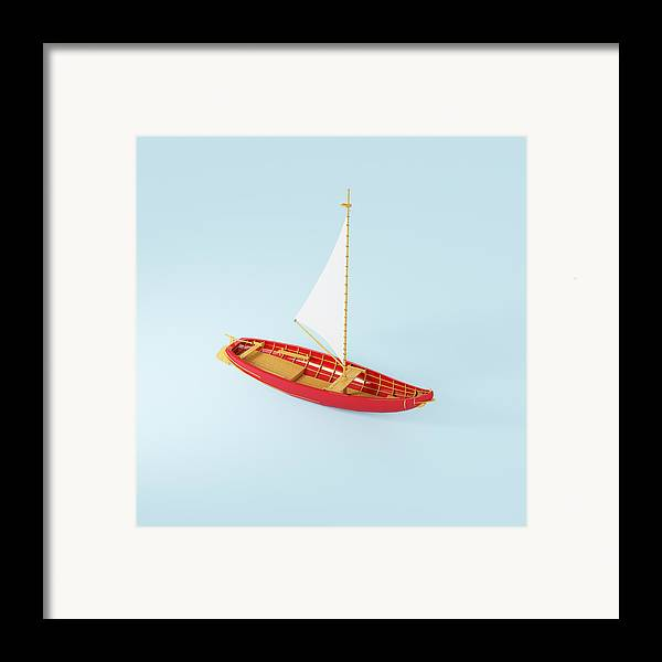 Square Framed Print featuring the photograph Wooden Toy Sailing Boat by Jon Boyes