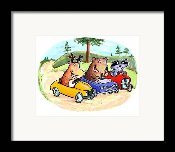 Scott Nelson Framed Print featuring the digital art Woodland Traffic Jam by Scott Nelson