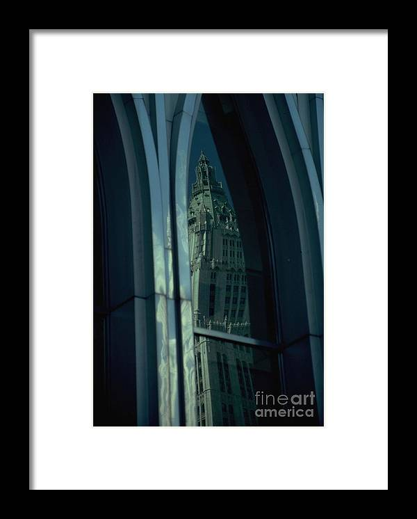 Nyc Framed Print featuring the photograph Woolworth Building Reflection In WTC by Mark Gilman