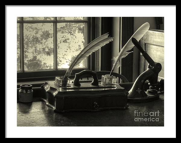 Quil Framed Print featuring the photograph Word processor Mk1 by Steev Stamford