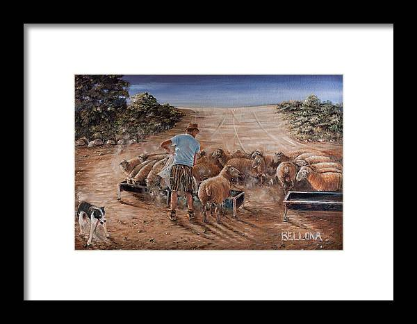 Sheep Farmer Framed Print featuring the painting Working Sheep In South-africa by Wilma Kleinhans