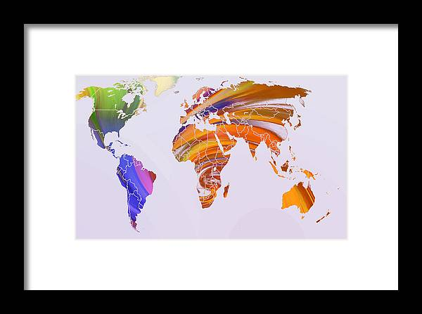 Map World Digital Art Atlas Country America Africa Asia Europe Australia Color Colorful Expressionism Impressionism Framed Print featuring the digital art World Map Abstract Painted by Steve K