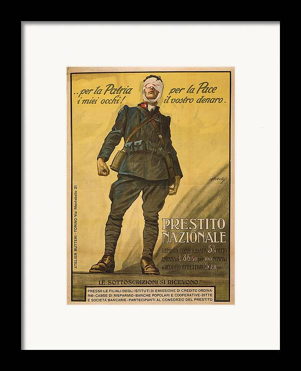 1910s Framed Print featuring the photograph World War I, Poster Shows A Wounded by Everett