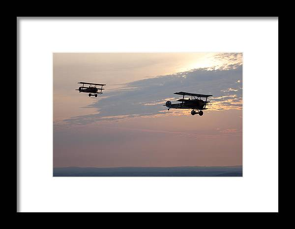 Day Framed Print featuring the photograph World War I Triplanes In Flight by Pete Ryan