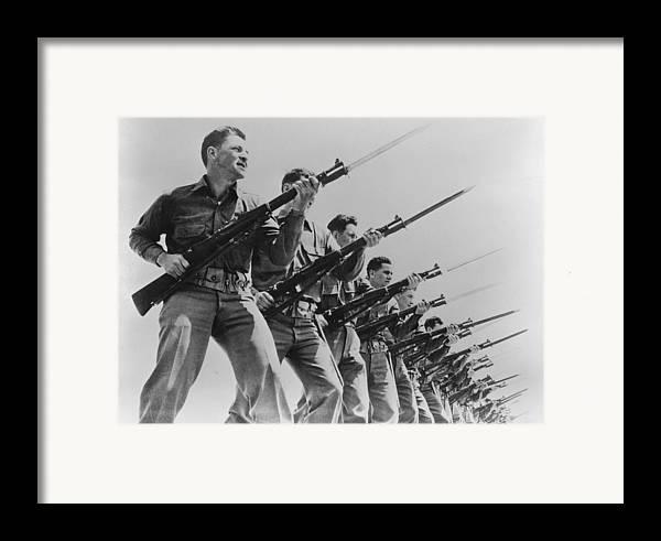 1940s Framed Print featuring the photograph World War II, Bayonet Practice by Everett