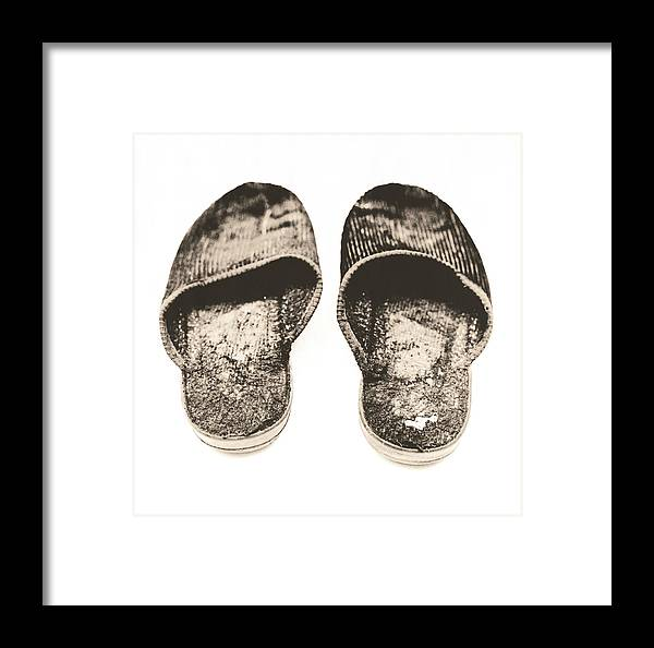 Shoe Framed Print featuring the photograph Worn Slippers by Kevin Curtis