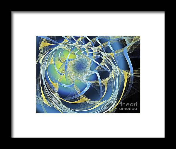 Fractal Framed Print featuring the digital art Woven Blue Ribbons by Andee Design