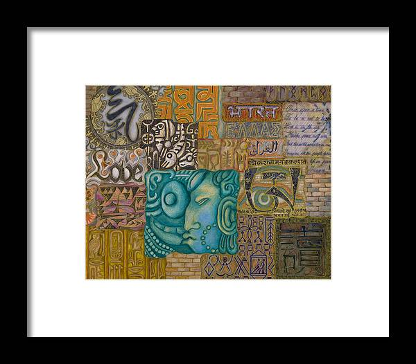 Illustrations Framed Print featuring the painting Writings by Ellie Perla