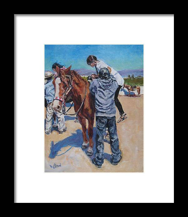 Baja Framed Print featuring the painting Wrong Shoes For Riding by Kellie Straw